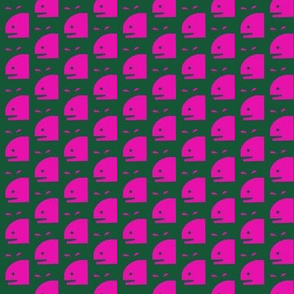 Pink Whales on Jade