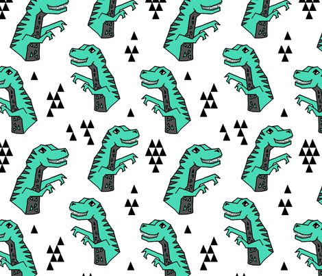 dinosaur fabric // dino kids nursery baby geometric triangles baby dino t rex fabric by andrea_lauren on Spoonflower - custom fabric