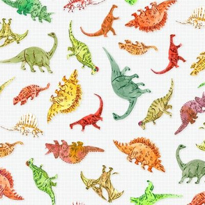 Dinosaur Party | Grey Grid Background