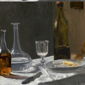 Claude Monet - Still Life with Bottle, Carafe, Bread, and Wine - Painting PUBLIC DOMAIN