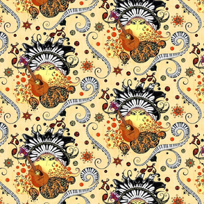 "Swirling Piano Keys and Faces (Mustard Background)- Music Notes Guitars Eyes- From ""Face The Music"" collection)"