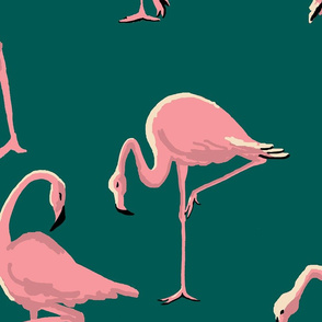 Flamingos Green Large Scale