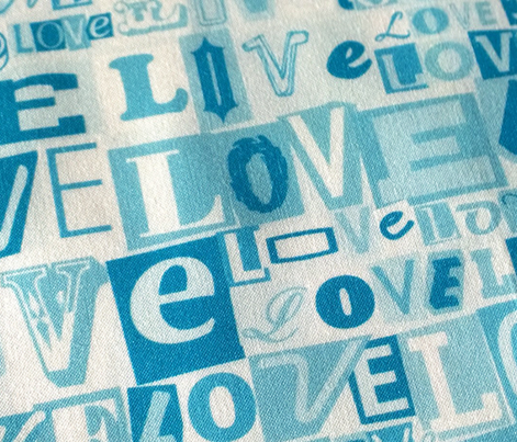Letters of L-O-V-E (Blue)  || valentine valentines day love collage ransom note romance alphabet typography collage photocopy