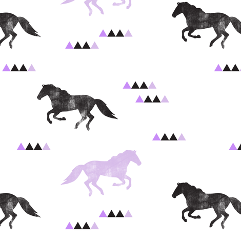 Wild horses // purple distressed fabric by littlearrowdesign on Spoonflower - custom fabric