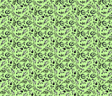 Ornate Music Notes- Small Green fabric by nicole_denise_designs on Spoonflower - custom fabric