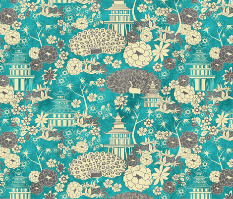 Pagoda garden fabric by kociara on Spoonflower - custom fabric