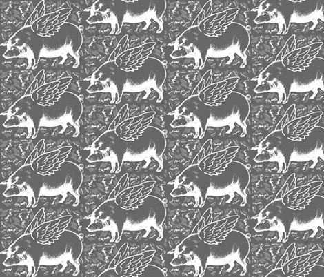 lots of flying pigs grey fabric by craftyscientists on Spoonflower - custom fabric