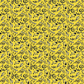 Ornate Music Notes- Small Yellow