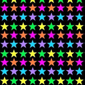 Bright Rainbow Stars on Black
