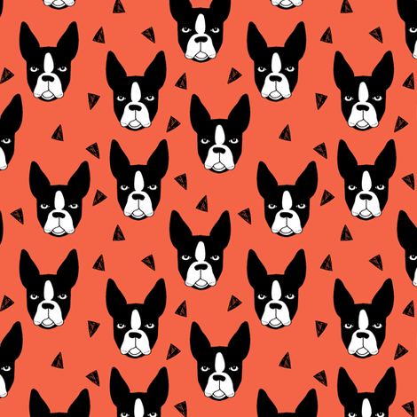 boston terriers // coral dog dog breed fabric boston terrier fabric by andrea_lauren on Spoonflower - custom fabric