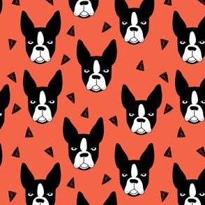 boston terriers // coral dog dog breed fabric boston terrier