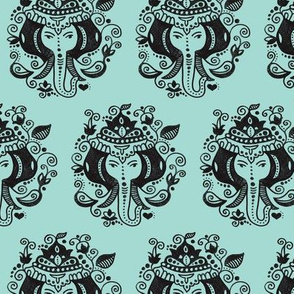 Oriental india Ganesh elephant in pastel mint blue