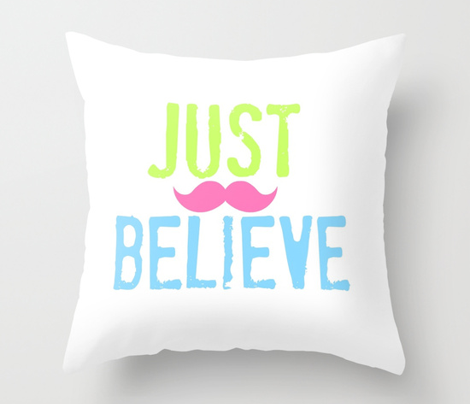 JUST BELIEVE- Ocean pink stache
