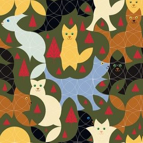 Christmas Circle Cats