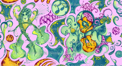 Swirling Guitars and Faces- Purple Background