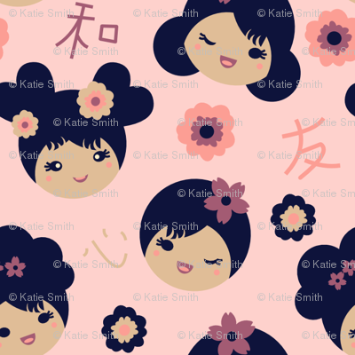 Kokeshi Sweeties Pink 3/4 in Faces