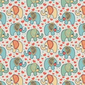 Baby Elephants & Hearts Orange Blue Grey
