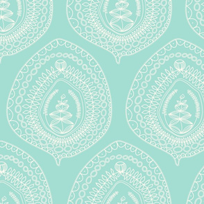 leaves on mint blue