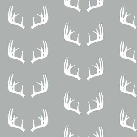antlers on grey // small scale - Northern Lights fabric by littlearrowdesign on Spoonflower - custom fabric