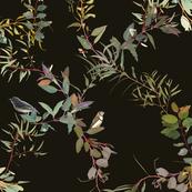 Eucalyptus Foliage Lattice with Birds n Bugs on dark brown L