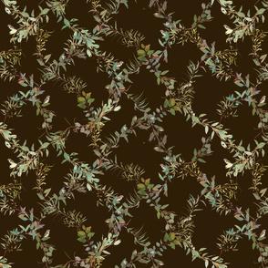 Eucalyptus Foliage Lattice with Birds n Bugs on warm chocolate 2e1e0