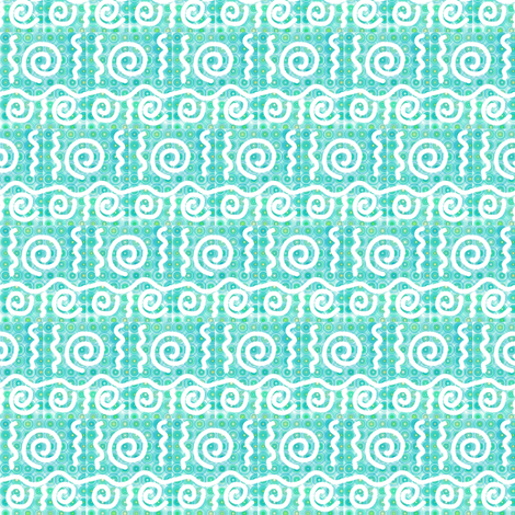 Pastel Curls Aqua fabric by eve_catt_art on Spoonflower - custom fabric