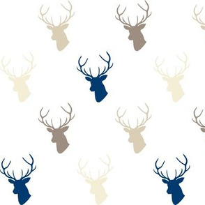 Navy Cream Taupe Deer half scale