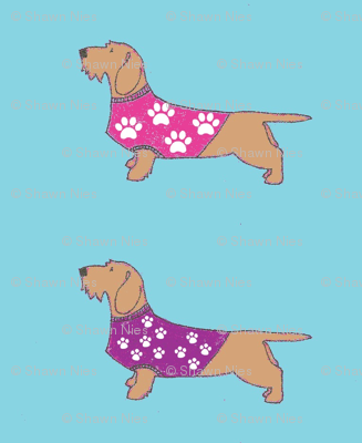 pink & purple pawprint sweaters_on_wires on blue