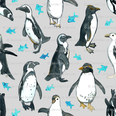 Watercolor Penguins with little Blue Fish on Grey