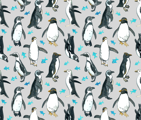 Watercolor Penguins with little Blue Fish on Grey fabric by micklyn on Spoonflower - custom fabric