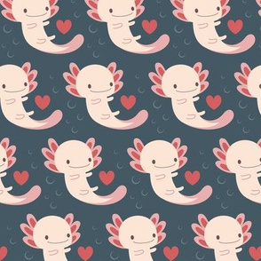 Axolotls hearts and bubbles