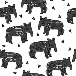 tapir // baby tapirs fabric white and black grey tapirs fabric