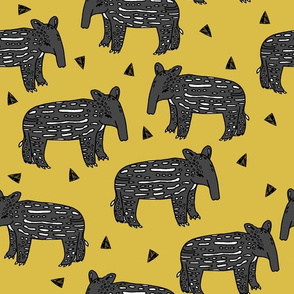 tapir // tapirs fabric mustard yellow baby animals design fabric