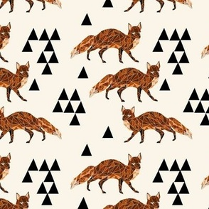 fox // geo fox cream background