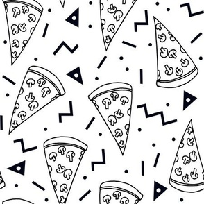 pizza party //  black and white pizza party shapes rad 90s kids triangles food