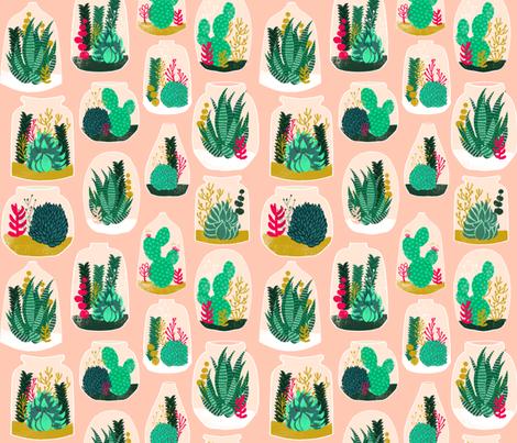terrarium // sweet little houseplants plants cactus indoor pastel pink succulents  fabric by andrea_lauren on Spoonflower - custom fabric