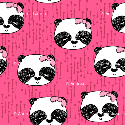 Panda with Bow - Bright Pink by Andrea Lauren