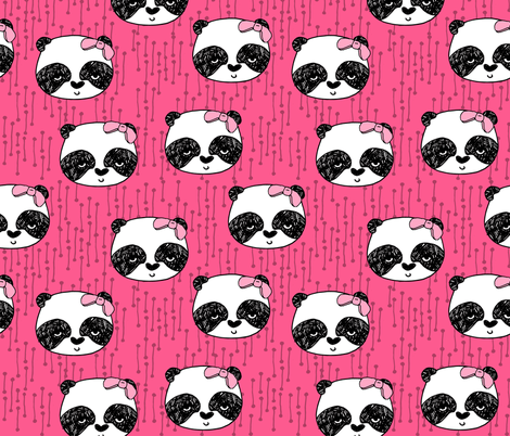 Panda with Bow - Bright Pink by Andrea Lauren fabric by andrea_lauren on Spoonflower - custom fabric