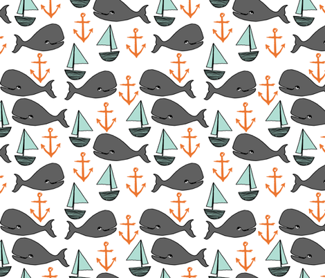 nautical whales // mint and grey fabric for baby nursery cute whales anchors sailboats fabric andrea lauren fabric andrea lauren design fabric by andrea_lauren on Spoonflower - custom fabric
