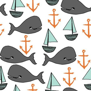 nautical whales // mint and grey fabric for baby nursery cute whales anchors sailboats fabric andrea lauren fabric andrea lauren design
