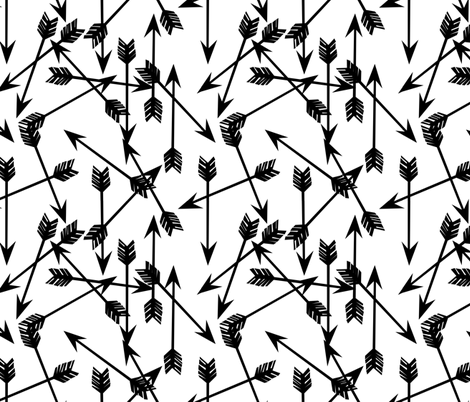 Arrows scattered black and white minimal cool trendy scandi kids nursery baby print fabric