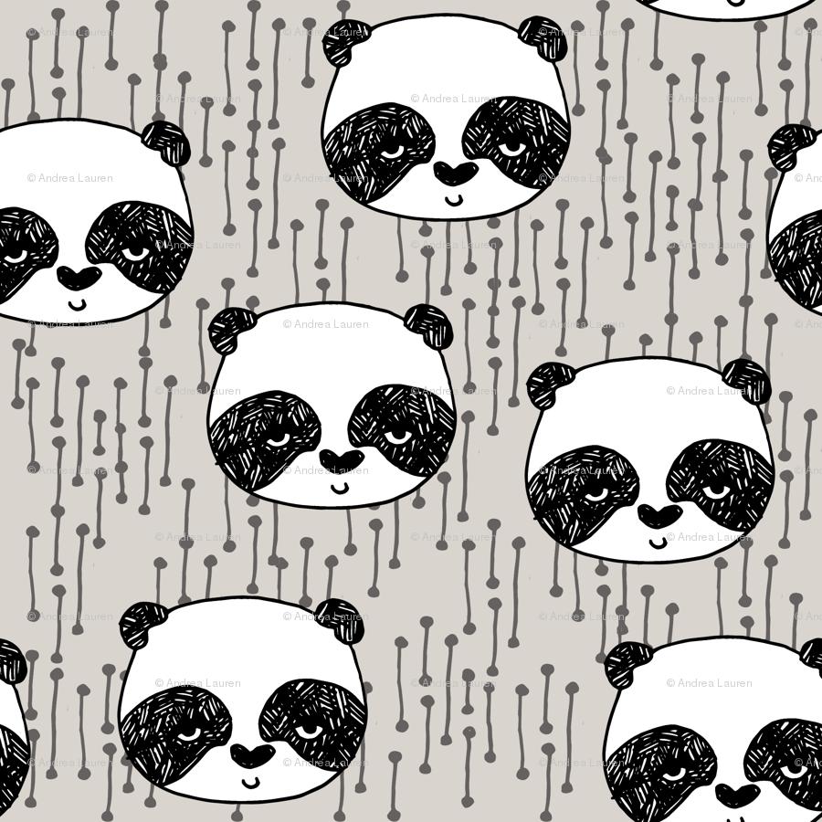 Panda Pandas Fabric Cute Panda Design Illustration Scandi Panda