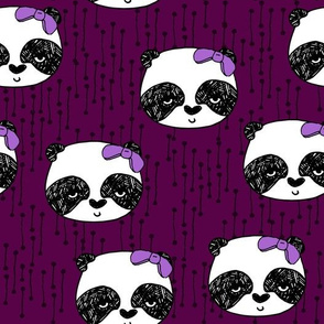 Panda with Bow - Plum by Andrea Lauren