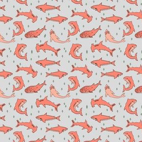sharks // grey and coral shark fabric shark design sharks shark fabric shark pattern shark design