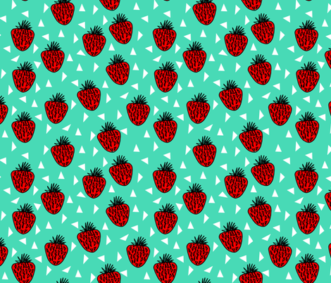 strawberries // bright strawberry sweet fruits fruit kids summer fabric by andrea_lauren on Spoonflower - custom fabric