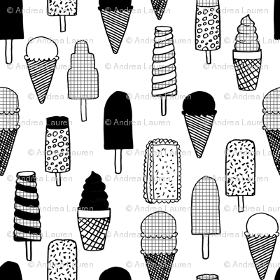 ice cream fabric  // ice cream cones black and white kids fun tropical summer sweets fabric print design