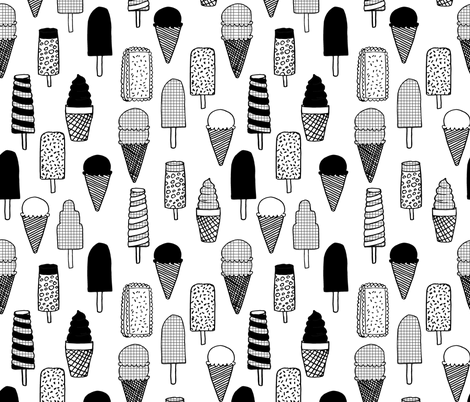 ice cream fabric  // ice cream cones black and white kids fun tropical summer sweets fabric print design fabric by andrea_lauren on Spoonflower - custom fabric