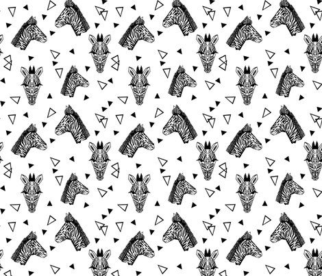 Zebra - Black and White with Triangles Monochromatic design by Andrea Lauren fabric by andrea_lauren on Spoonflower - custom fabric