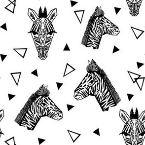 Zebra - Black and White with Triangles Monochromatic design by Andrea Lauren