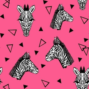 Zebra - Black and White and Pink design by Andrea Lauren - Pink, Triangles, Black and White Animal design by Andrea Lauren